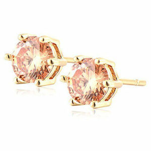 Other - 18K Gold Plated Champagne Crystal Studs